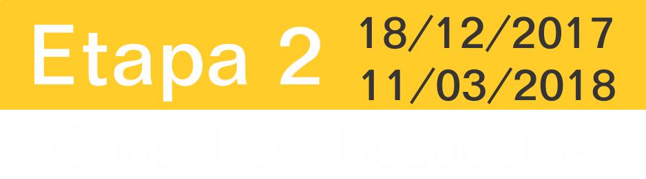 Etapa 2: 18/12/2017 a 11/03/2018